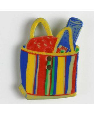 Kinderknopf in Form einer Strandtasche - Größe: 30mm - Farbe: gelb - Art.Nr. 370312