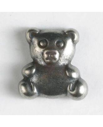 Vollmetallknopf in Form eines Teddybärs - Größe: 18mm - Farbe: altsilber - Art.Nr. 310557
