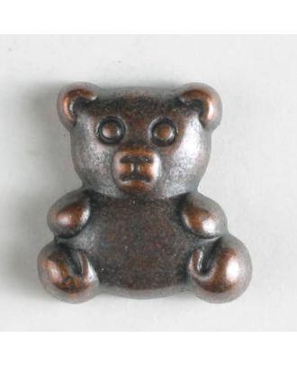 Vollmetallknopf in Form eines Teddybärs - Größe: 18mm - Farbe: kupfer - Art.Nr. 310558