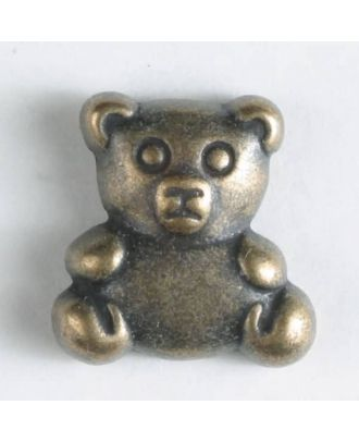 Vollmetallknopf in Form eines Teddybärs -  Größe: 18mm - Farbe: altmessing - Art.Nr. 310559