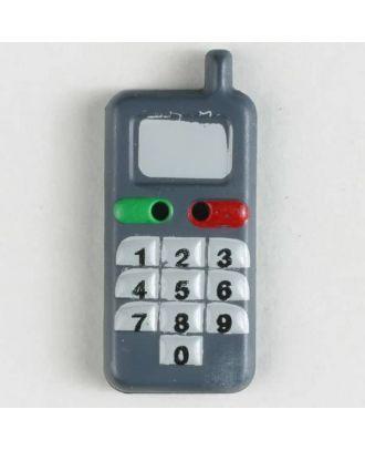 Kinderknopf in Form eines Handys - Größe: 28mm - Farbe: grau - Art.Nr. 360452