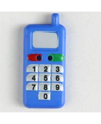 Kinderknopf in Form eines Handys - Größe: 28mm - Farbe: blau - Art.Nr. 360453