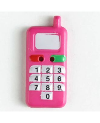 Kinderknopf in Form eines Handys - Größe: 28mm - Farbe: pink - Art.Nr. 360454