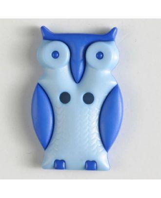 Kinderknopf schlaue Eule mit 2 Löchern - Größe: 25mm - Farbe: blau - Art.Nr. 330797