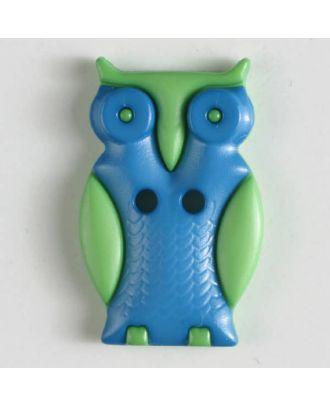 Kinderknopf schlaue Eule mit 2 Löchern - Größe: 25mm - Farbe: blau - Art.Nr. 330798