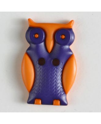 Kinderknopf schlaue Eule mit 2 Löchern - Größe: 25mm - Farbe: lila - Art.Nr. 330799