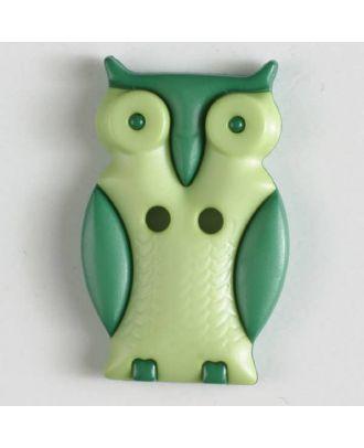 Kinderknopf schlaue Eule mit 2 Löchern - Größe: 25mm - Farbe: grün - Art.Nr. 330800