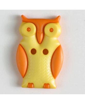 Kinderknopf schlaue Eule mit 2 Löchern - Größe: 25mm - Farbe: gelb - Art.Nr. 330802