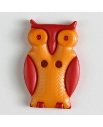 Kinderknopf schlaue Eule mit 2 Löchern - Größe: 25mm - Farbe: orange - Art.Nr. 330803