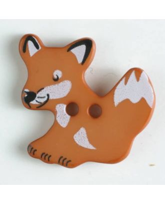 Kinderknopf schlauer Fuchs mit 2 Löchern - Größe: 25mm - Farbe: braun - Art.Nr. 330871