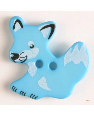 Kinderknopf schlauer Fuchs mit 2 Löchern - Größe: 25mm - Farbe: blau - Art.Nr. 330872