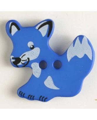 Kinderknopf schlauer Fuchs mit 2 Löchern - Größe: 25mm - Farbe: blau - Art.Nr. 330873