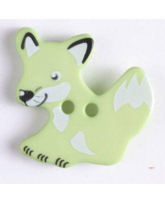 Kinderknopf schlauer Fuchs mit 2 Löchern -  Größe: 25mm - Farbe: grün - Art.Nr. 330874
