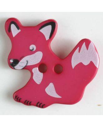 Kinderknopf schlauer Fuchs mit 2 Löchern - Größe: 25mm - Farbe: pink - Art.Nr. 330875