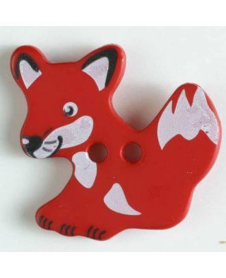 Kinderknopf schlauer Fuchs mit 2 Löchern - Größe: 25mm - Farbe: rot - Art.Nr. 330876