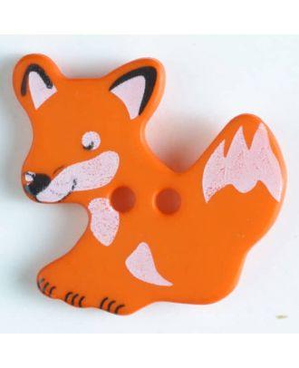 Kinderknopf schlauer Fuchs mit 2 Löchern - Größe: 25mm - Farbe: orange - Art.Nr. 330877