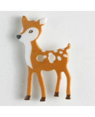Kinderknopf Rehlein Bambi, bedruckt, 2-loch - Größe: 28mm - Farbe: braun - Art.Nr. 341100