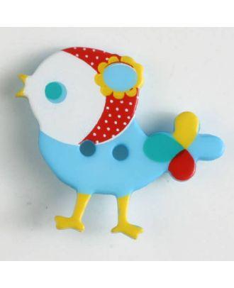 Kinderknopf bunter Vogel, bedruckt, 2-loch - Größe: 25mm - Farbe: blau - Art.Nr. 330878