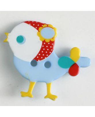 Kinderknopf bunter Vogel, bedruckt, 2-loch -  Größe: 25mm - Farbe: blau - Art.Nr. 330879