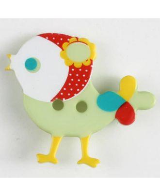 Kinderknopf bunter Vogel, bedruckt, 2-loch - Größe: 25mm - Farbe: grün - Art.Nr. 330881