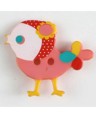 Kinderknopf bunter Vogel, bedruckt, 2-loch - Größe: 25mm - Farbe: pink - Art.Nr. 330882