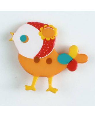 Kinderknopf bunter Vogel, bedruckt, 2-loch - Größe: 25mm - Farbe: orange - Art.Nr. 330883