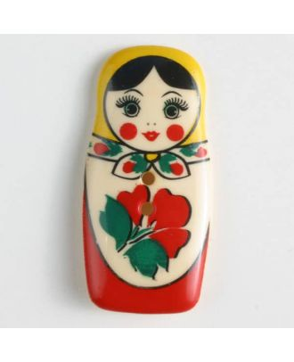 Polyamidknopf, Babuschka, bedruckt, 2-loch - Größe: 40mm - Farbe: rot - Art.Nr. 370652