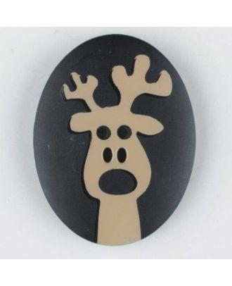Polyamidknopf oval mit aufgedruckten Elch - Größe: 30mm - Farbe: schwarz - Art.Nr. 370693
