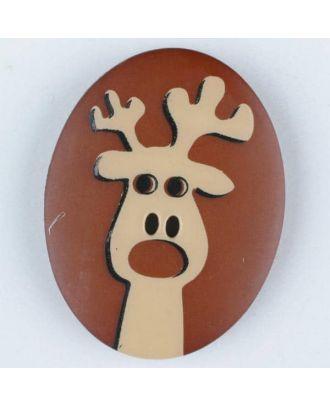 Polyamidknopf oval mit aufgedruckten Elch -  Größe: 30mm - Farbe: braun - Art.Nr. 370699