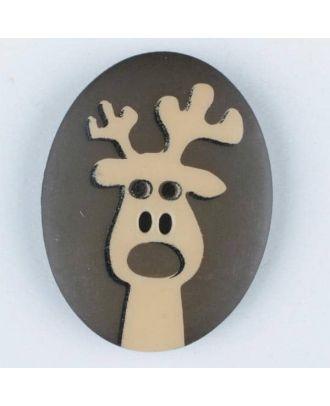 Polyamidknopf oval mit aufgedruckten Elch -  Größe: 30mm - Farbe: braun - Art.Nr. 370694