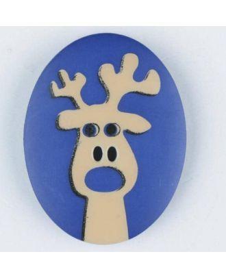 Polyamidknopf oval mit aufgedruckten Elch - Größe: 23mm - Farbe: blau - Art.Nr. 331009