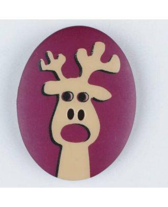 Polyamidknopf oval mit aufgedruckten Elch - Größe: 30mm - Farbe: lila - Art.Nr. 370697