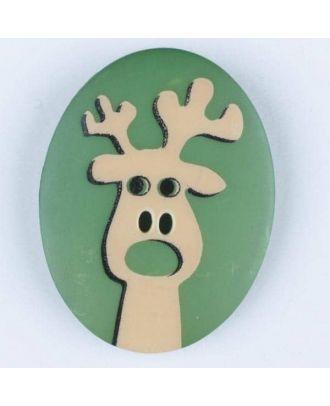 Polyamidknopf oval mit aufgedruckten Elch -  Größe: 23mm - Farbe: grün - Art.Nr. 331010