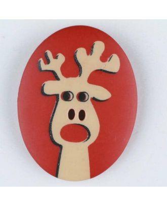 Polyamidknopf oval mit aufgedruckten Elch - Größe: 30mm - Farbe: rot - Art.Nr. 370698