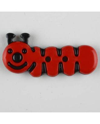 Kinderknopf grinsende Raupe - Größe: 30mm - Farbe: rot - Art.Nr. 341121