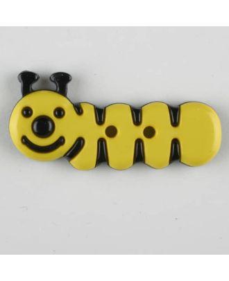Kinderknopf grinsende Raupe -Größe: 30mm - Farbe: gelb - Art.Nr. 341122