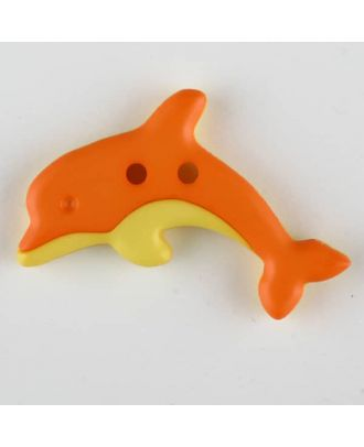 Kinderknopf zweifarbiger springender Delphin  - Größe: 30mm - Farbe: orange - Art.Nr. 341132