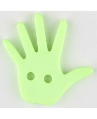Kinderknopf in Form einer Hand  -  Größe: 25mm - Farbe: grün - Art.Nr. 331032