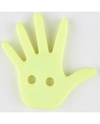 Kinderknopf in Form einer Hand  -  Größe: 25mm - Farbe: gelb - Art.Nr. 331034