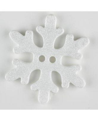 Kinderknopf wunderschöne Schneeflocke -  Größe: 34mm - Farbe: weiß - Art.Nr. 371138