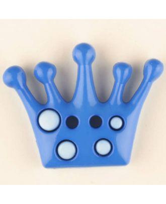 Kinderknopf mit hübscher Krone - Größe: 28mm - Farbe: blau - Art.Nr. 341163