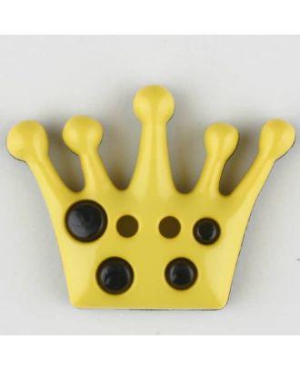 Kinderknopf mit hübscher Krone - Größe: 28mm - Farbe: gelb - Art.Nr. 341161