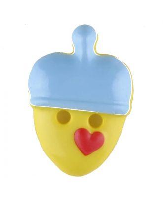 Kinderknopf lustige Eichel mit Stern -  Größe: 20mm - Farbe: blau - Art.Nr. 310956