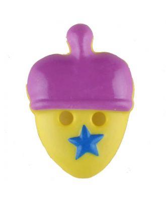 Kinderknopf lustige Eichel mit Stern - Größe: 20mm - Farbe: lila - Art.Nr. 310962