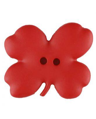 Kinderknopf vierblättriges Kleeblatt -Größe: 23mm - Farbe: rot - Art.Nr. 310953