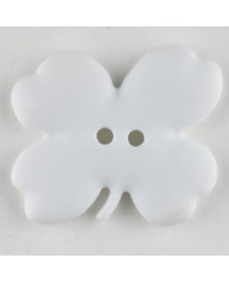 Kinderknopf vierblättriges Kleeblatt - Größe: 23mm - Farbe: weiß - Art.Nr. 310948