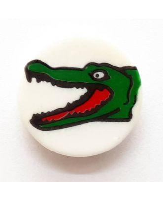 Kinderknopf Krokodil mit offenem Maul - Größe: 14mm - Farbe: weiß - Art.Nr. 241227