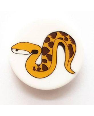 Kinderknopf gefährliche Schlange mit Öse - Größe: 14mm - Farbe: weiß - Art.Nr. 241228