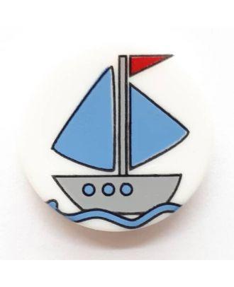 Kinderknopf hübsches Segelboot mit Öse - Größe: 14mm - Farbe: weiß - Art.Nr. 241229