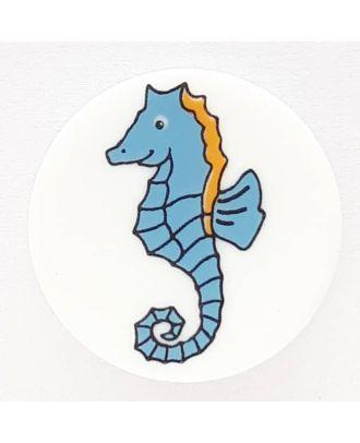 Kinderknopf stolzes Seepferdchen mit Öse - Größe: 14mm - Farbe: weiß - Art.Nr. 241230